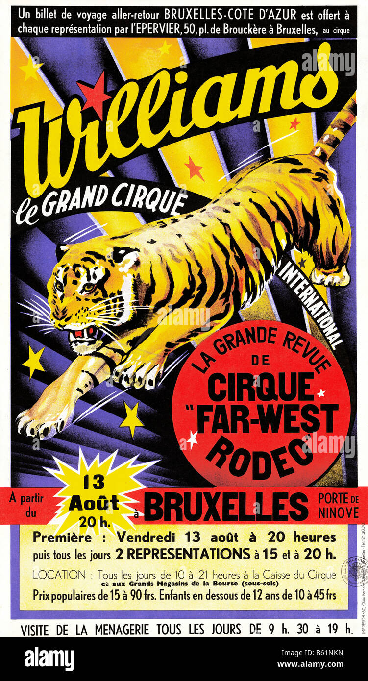 Williams Circus 1950s poster for the visit of the Grand International Circus and menagerie to Brussels - Stock Image