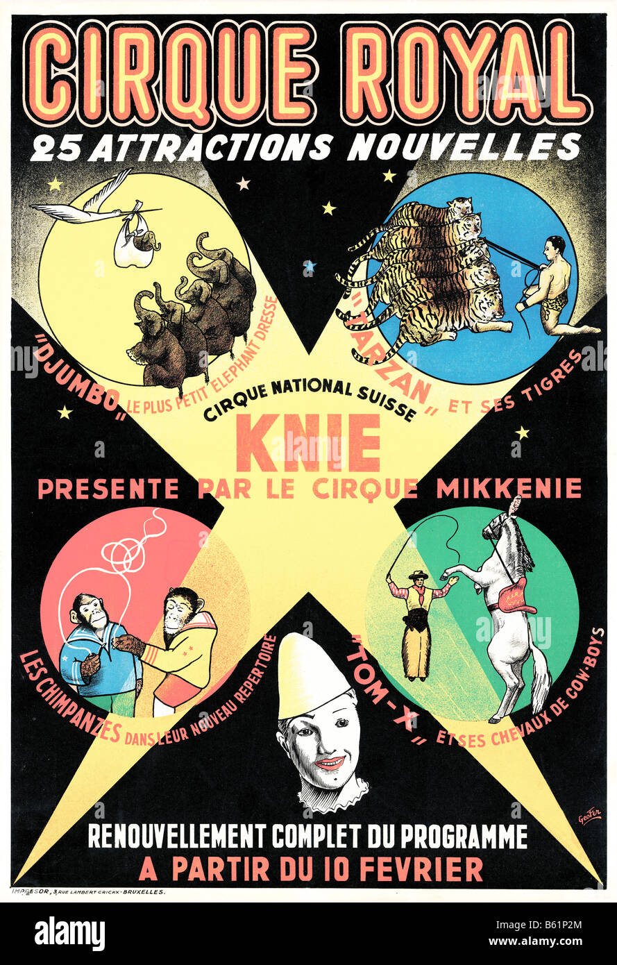 Cirque Royal 1950s poster for the travelling Belgian circus with 25 new acts - Stock Image