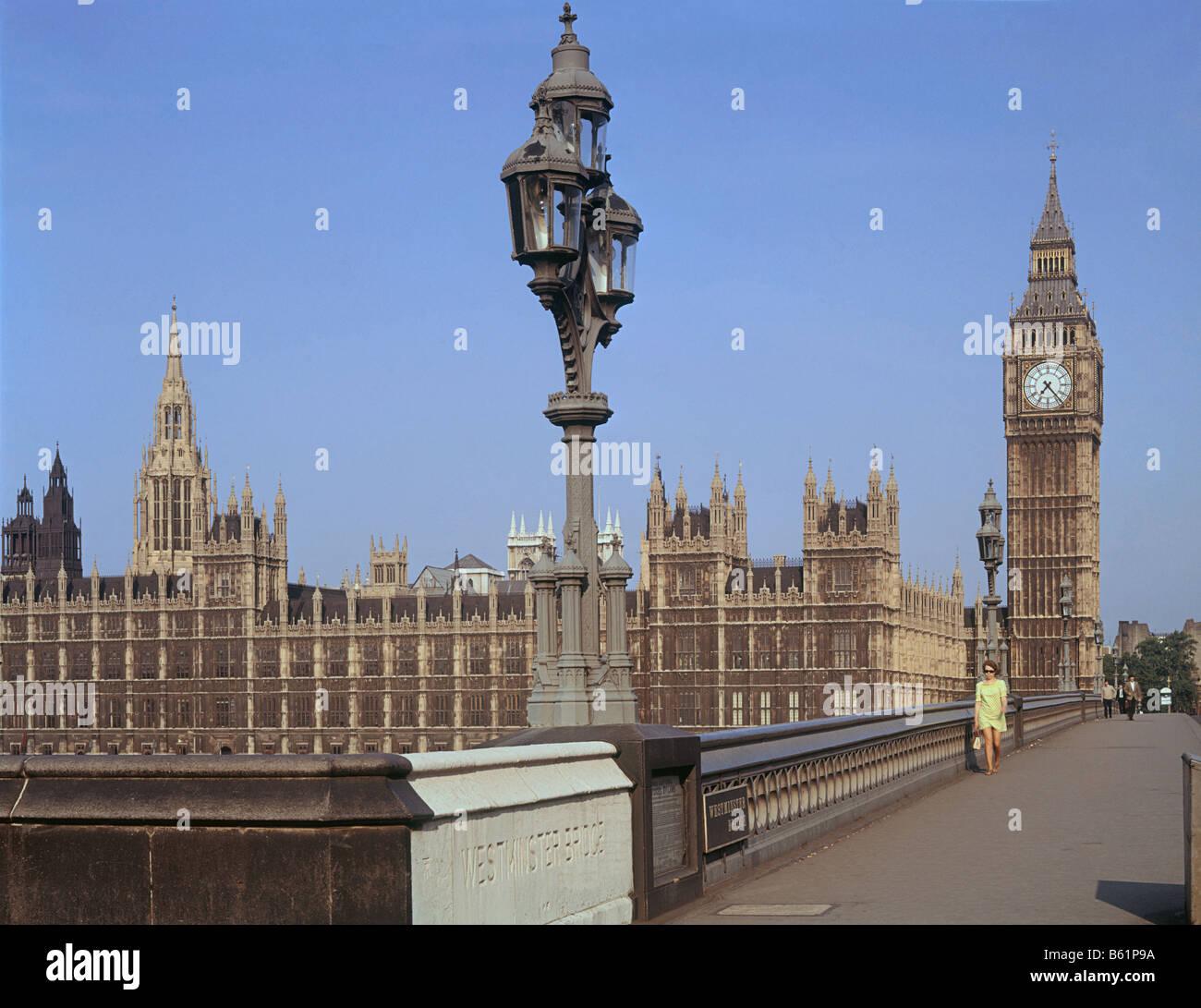 London,Westminster Bridge,Big Ben and theHouses of Parlament. Bridge designed byThomasPage,Palace ofWestminster - Stock Image