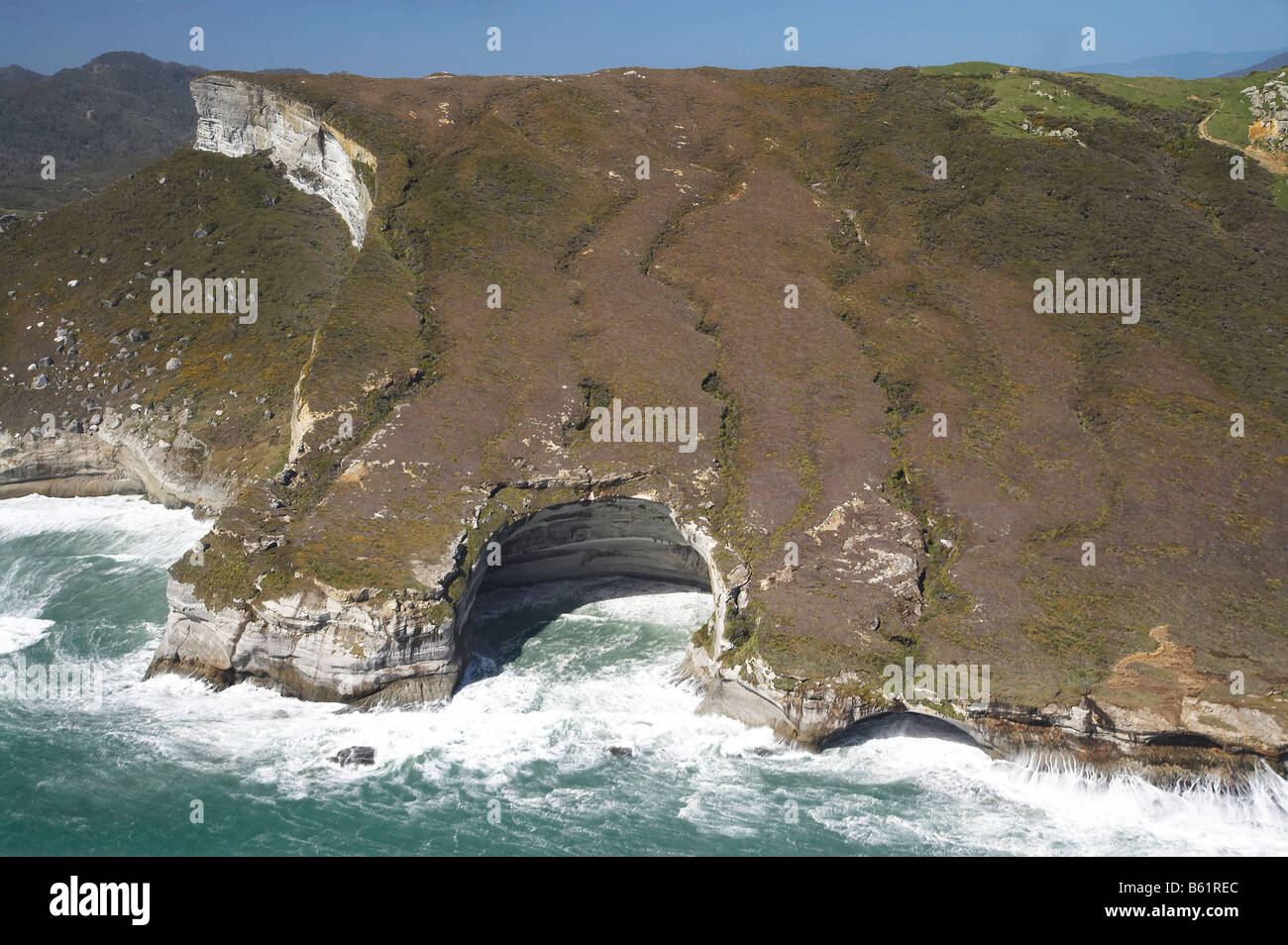 Rock Formations south of Cape Farewell at Curious Cliff and Mount Lunar by Nguroa Bay NW Nelson Region South Island - Stock Image