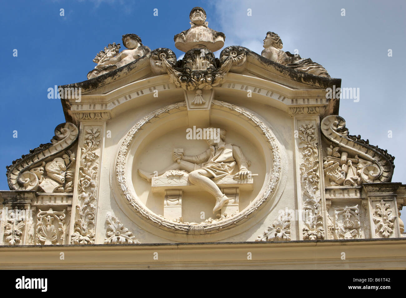 Relief on a restored community centre in the Via Roma, Sassari, Sardinia, Italy, Europe - Stock Image