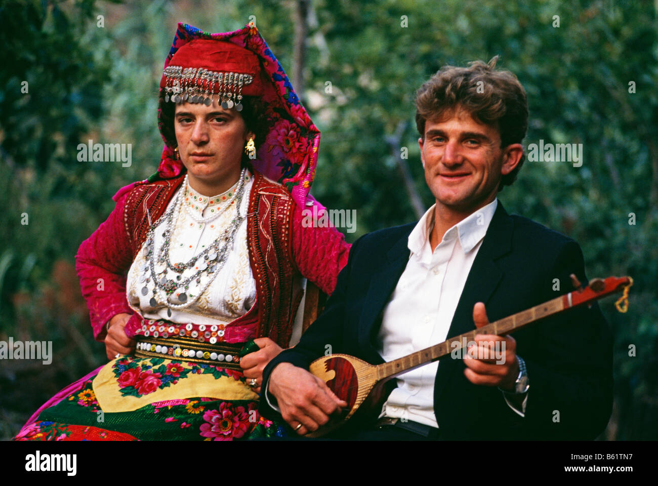 Bride and Bridegroom at wedding in Northern Albania 1992 - Stock Image