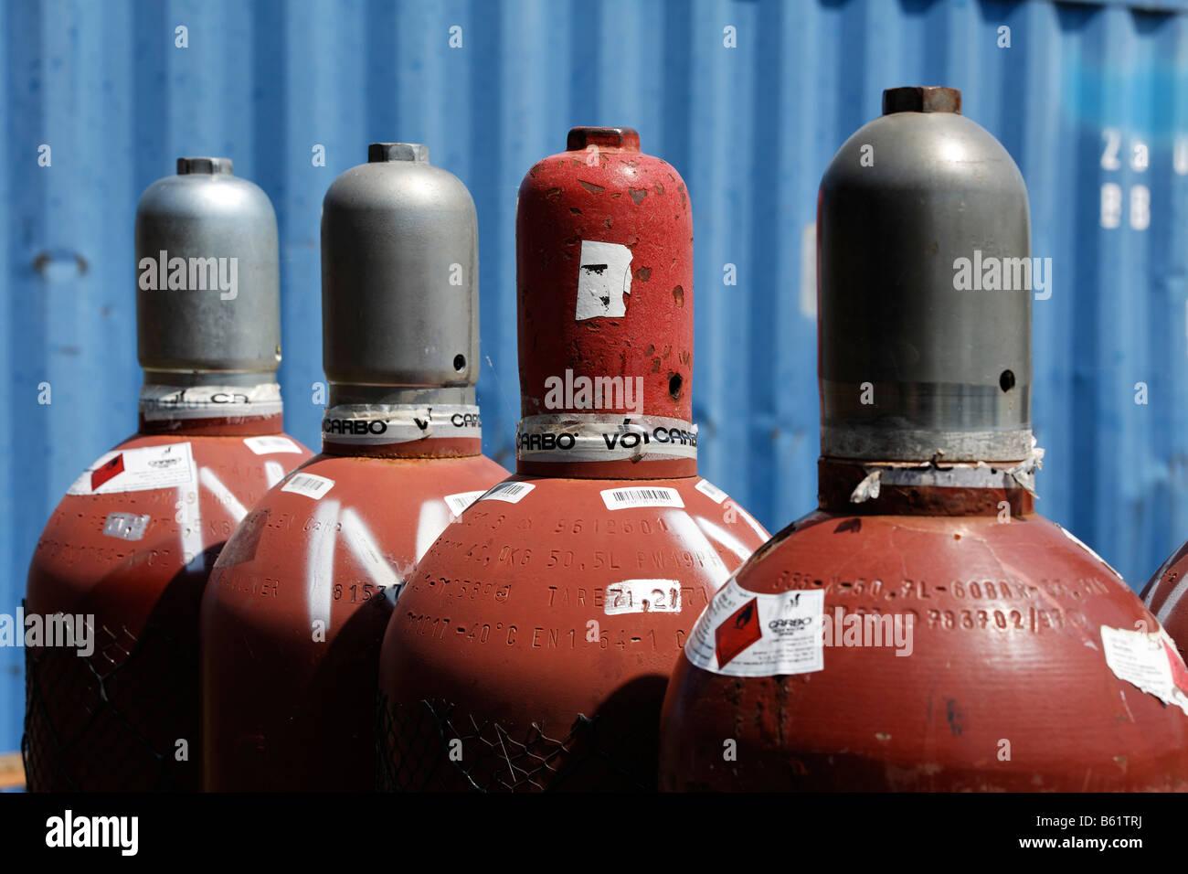 Compressed gas bottles with nitrogen, an inert gas for welding, detail, building site, Krefeld-Uerdingen, North - Stock Image