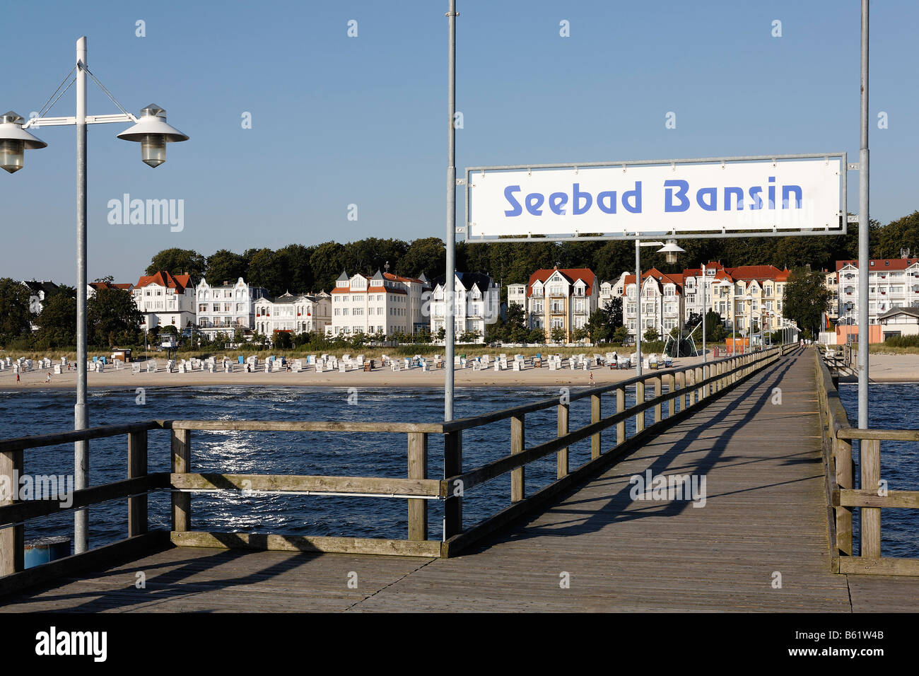 Bansin seaside resort, view from pier, Usedom Island, Baltic Sea, Mecklenburg-Western Pomerania, Germany, Europe Stock Photo
