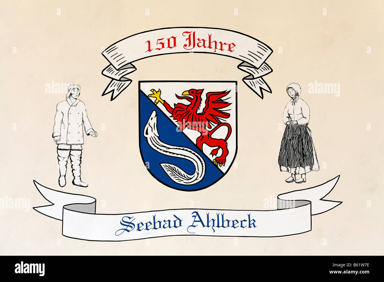 Crest made for the 150 anniversary of Ahlbeck, with sketched figures, Usedom Island, Baltic Sea, Mecklenburg-Western - Stock Image