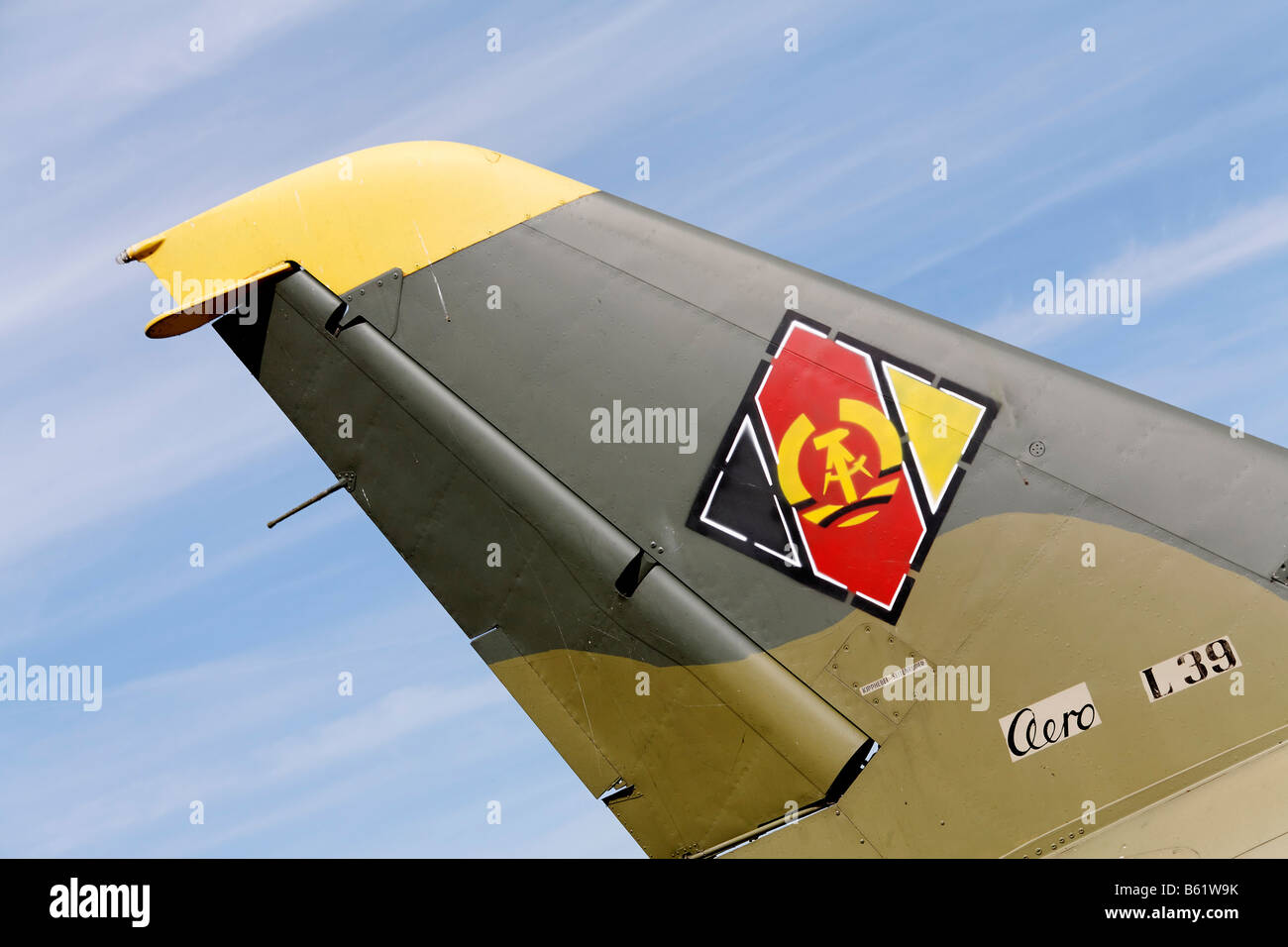 Insignia of the former DDR on the tailplane of fighter, Peenemuende Historical-Technical-Information Centre, Usedom - Stock Image
