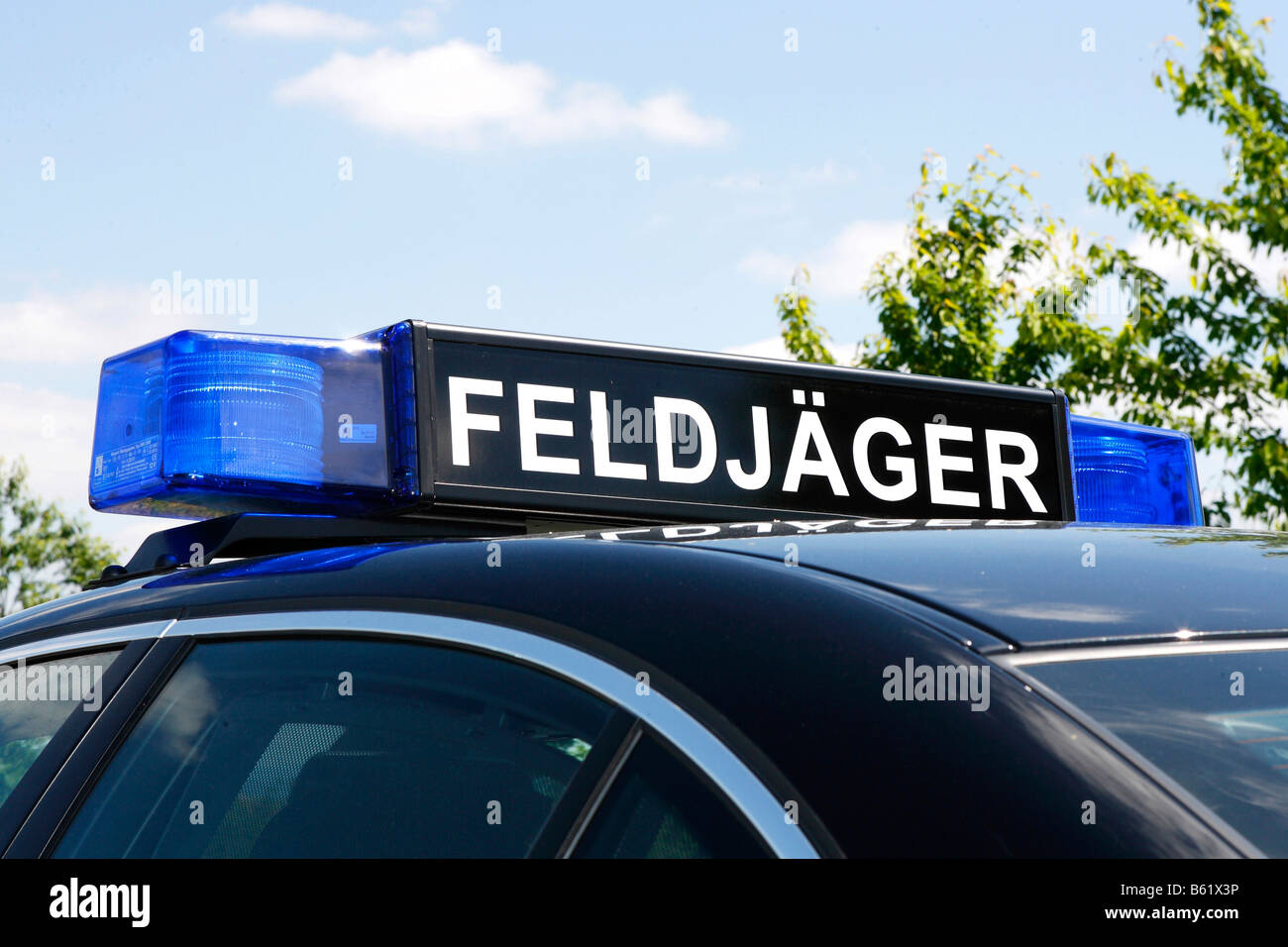 Sign on a car roof, Feldjaeger, German military police - Stock Image