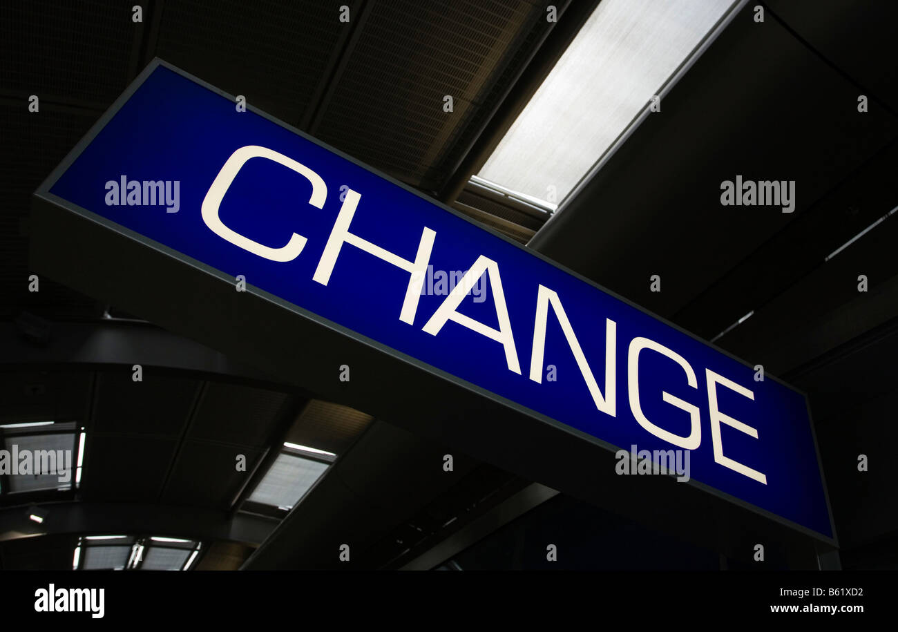 Change, information sign in an airport building, Frankfurt am Main, Hesse, Germany, Europe - Stock Image