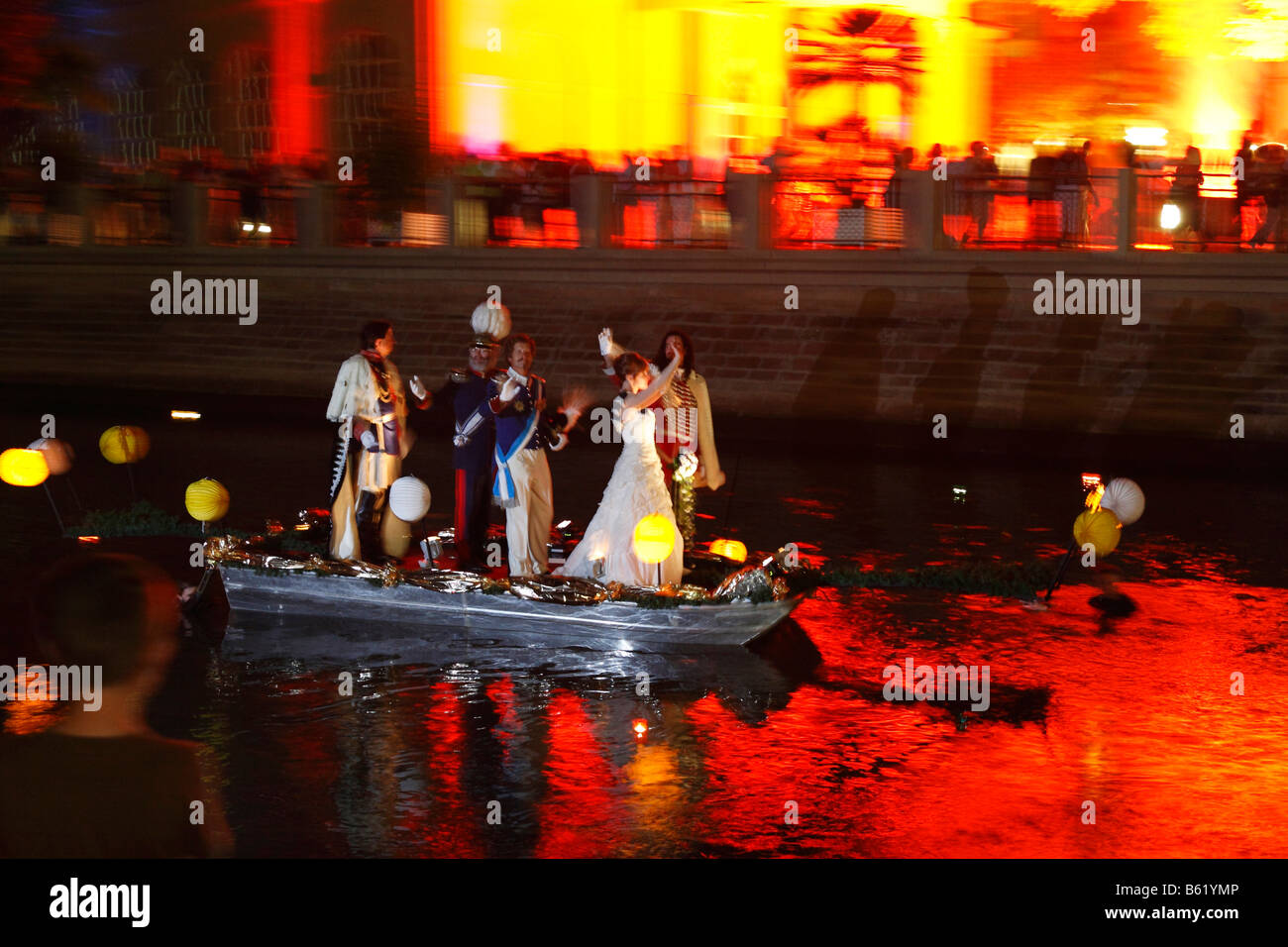 Rákóczi-Fest festival, boat carrying guests of honour on the Franconian Saale River, in the evening at - Stock Image