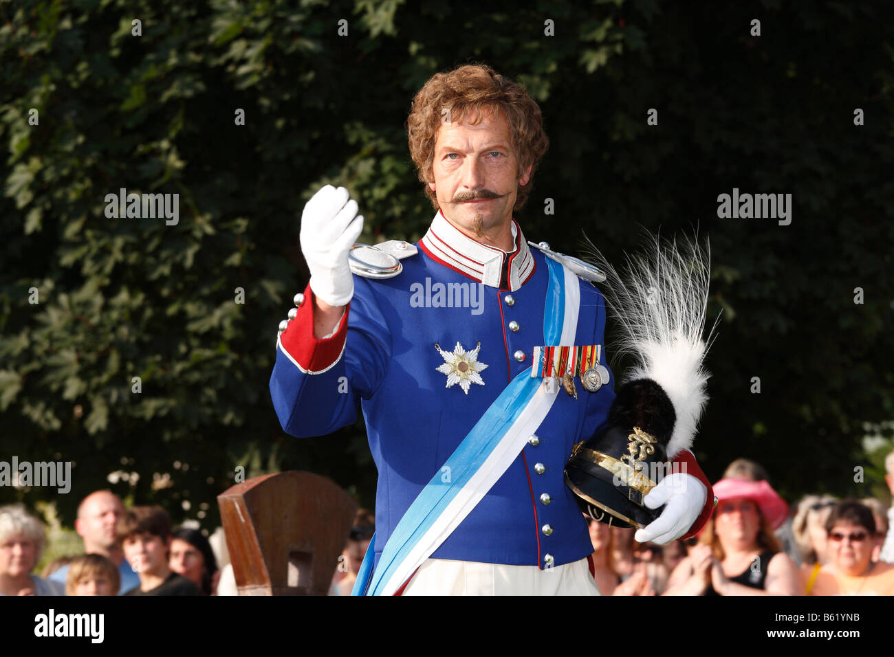 Man dressed as King Ludwig I, Rákóczi-Fest festival, Bad Kissingen, Rhoen, Lower Franconia, Bavaria, Germany, - Stock Image
