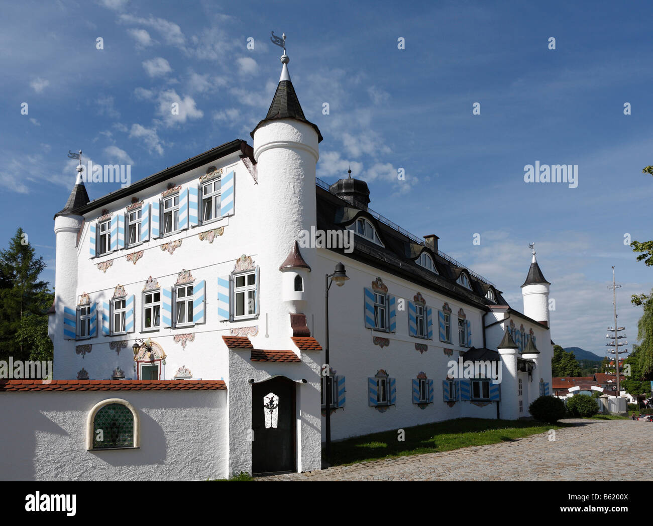 Bonnschloessl Hotel, castle hotel in Bernau on Lake Chiemsee, Chiemgau, Upper Bavaria, Germany, Europe - Stock Image
