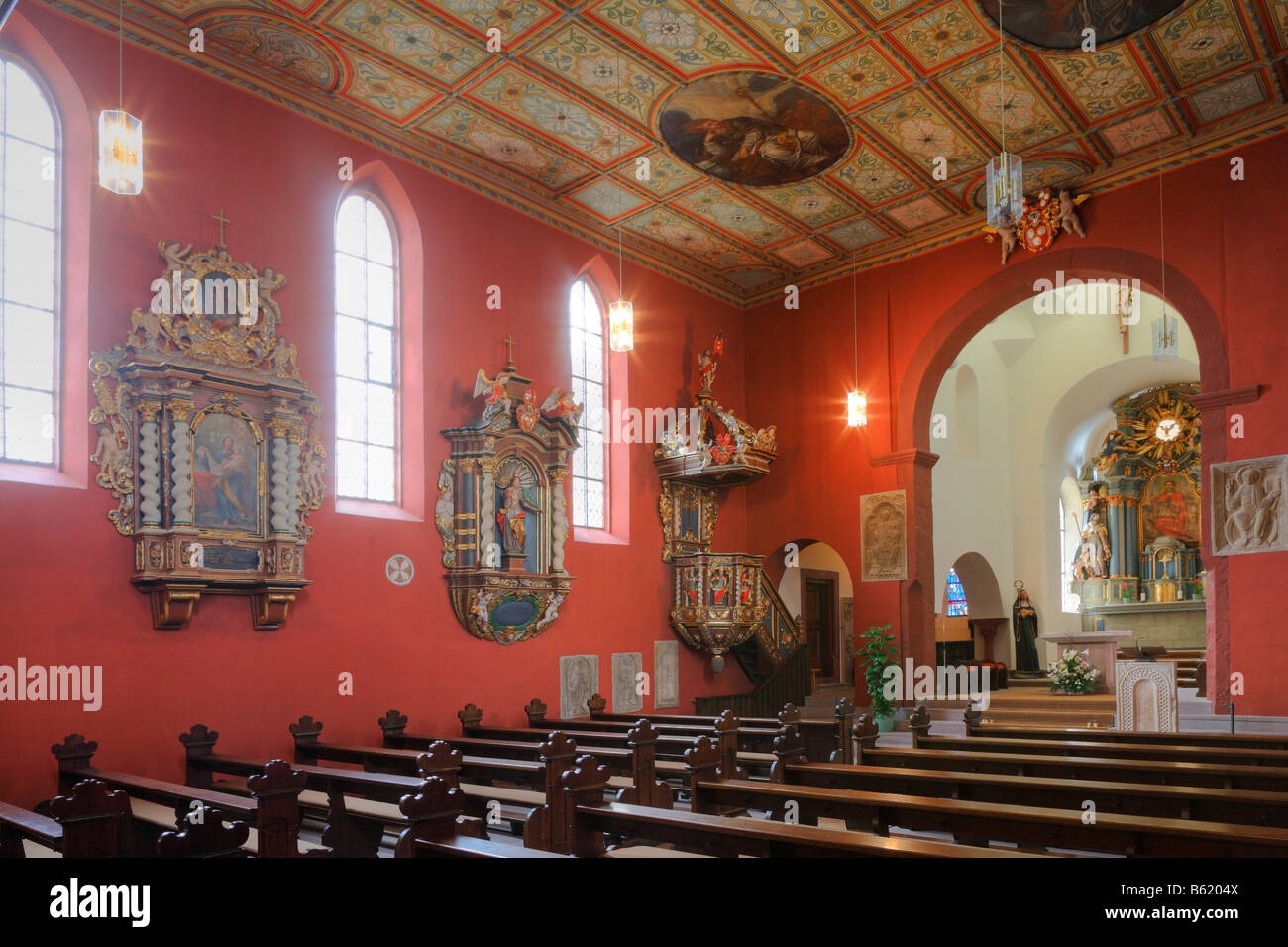 Interior view of the provost church of St Peter in Petersburg near Fulda, Rhoen, Hesse, Germany, Europe Stock Photo