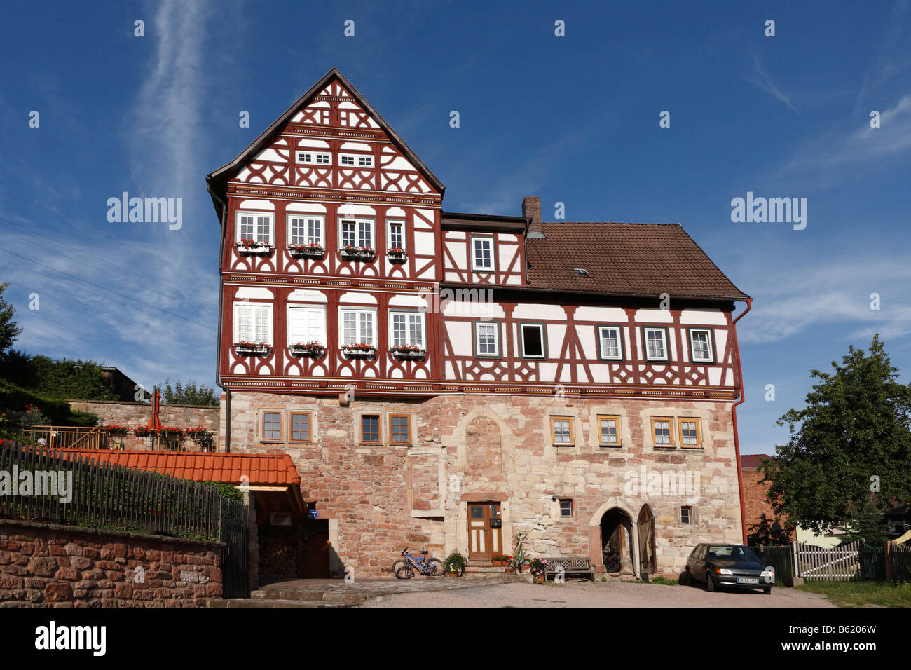 Maienhof, half-timbered building in Wasungen, Rhoen, Thuringia, Germany, Europe - Stock Image