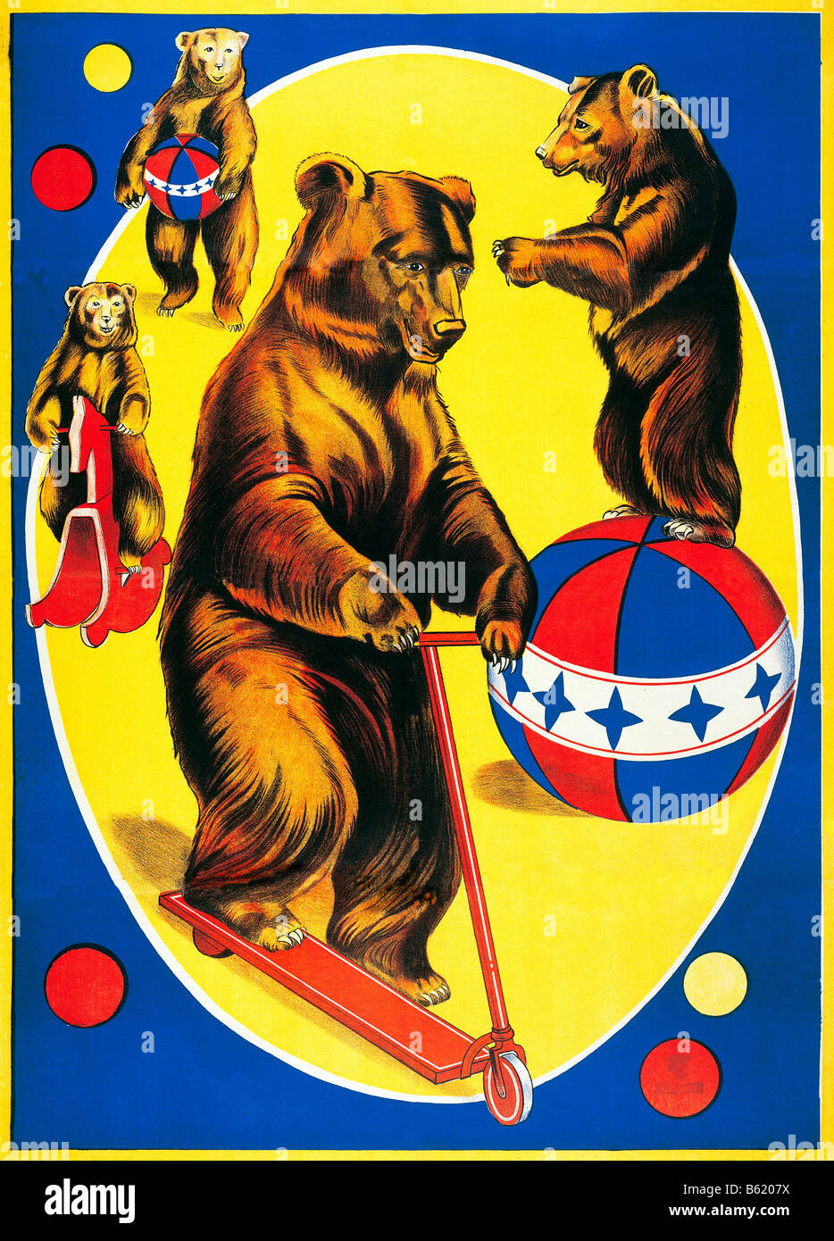 Circus Bears 1950s Belgian illustrated poster for performing bears at a travelling circus - Stock Image