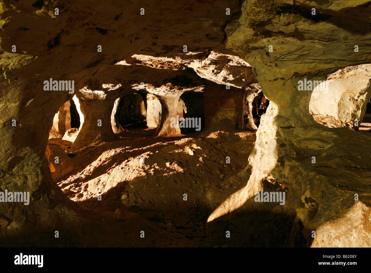 Walldorf sandstone and fairytale cave, Rhoen, Thuringia, Gerrmany, Europe - Stock Image