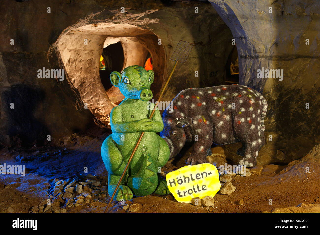 Cave troll, figure in the Walldorf sandstone and fairytale cave, Rhoen, Thuringia, Gerrmany, Europe - Stock Image