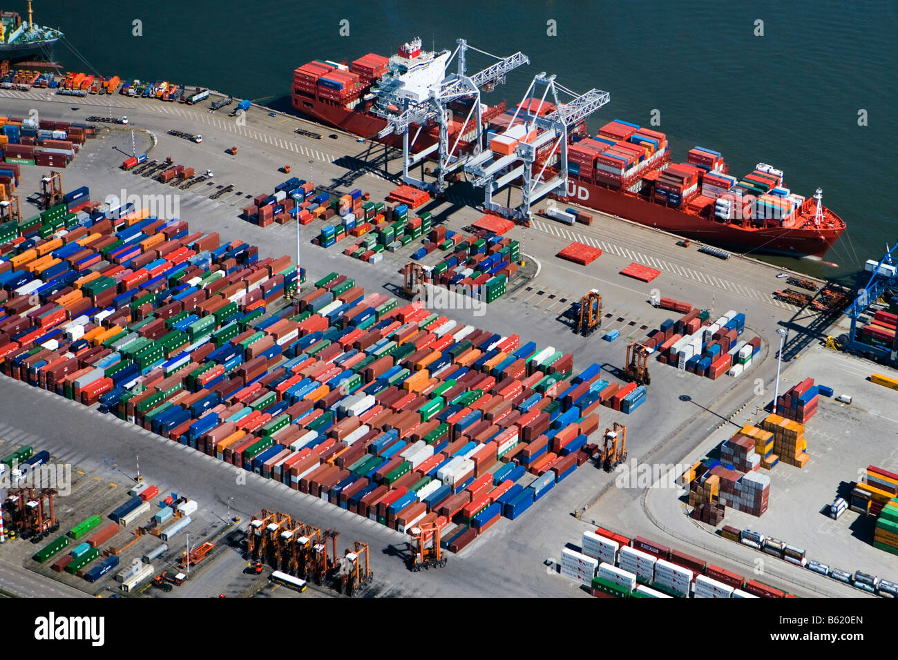 Holland, Zuid Holland, Rotterdam, Harbour, Aerial of Container port. - Stock Image