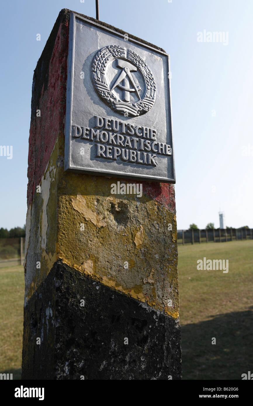 DDR border sign, Point Alpha Border Museum, Rasdorf/Geisa, Rhoen, Hesse/Thuringia, Germany, Europe - Stock Image