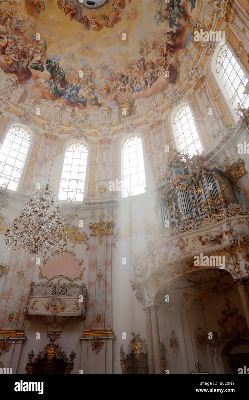 Organ in Ettal Abbey Church, Upper Bavaria, Germany, Europe Stock Photo