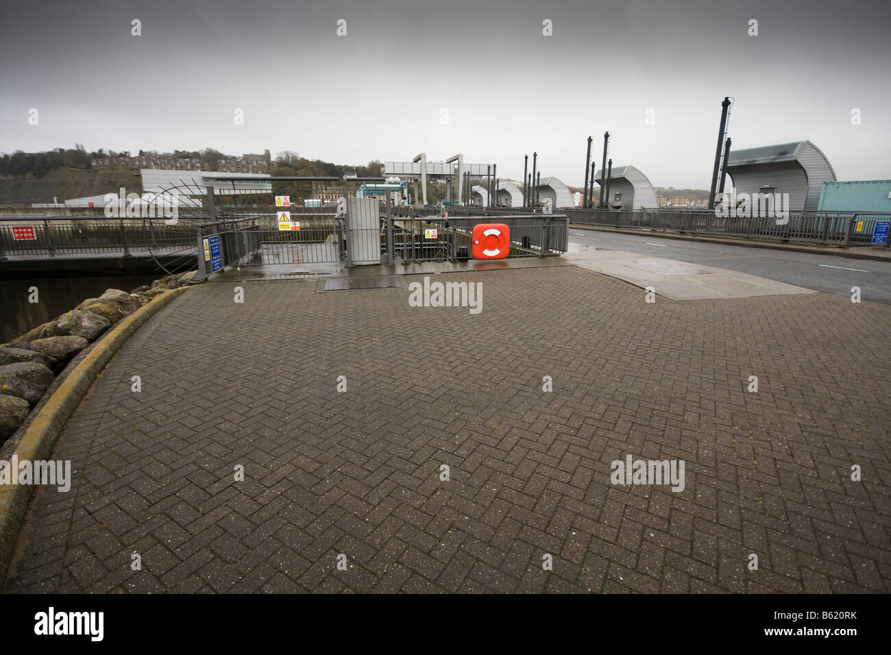 View of Cardiff barrage in Cloudy conditions in Wales, United Kingdom - Stock Image