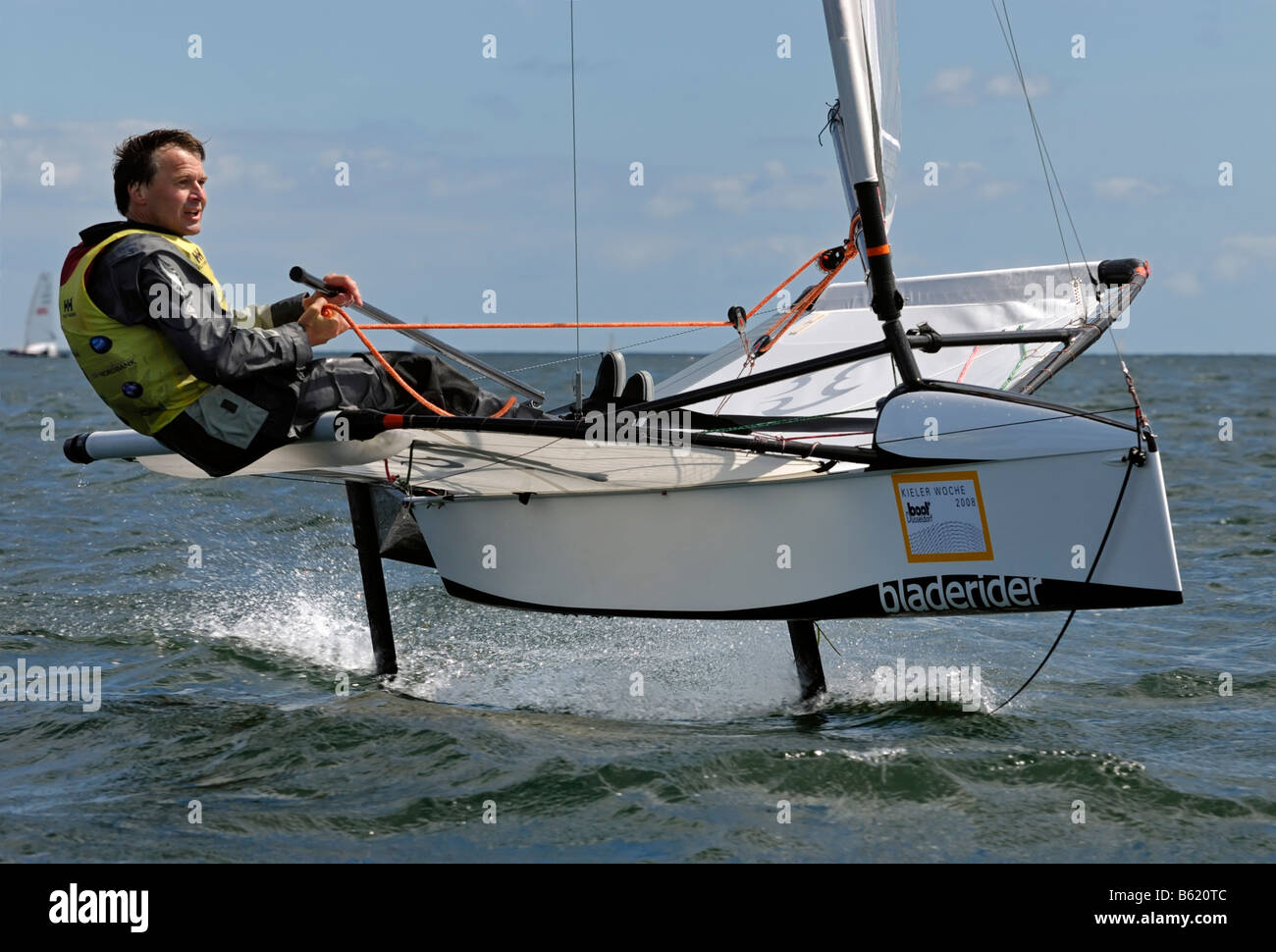 Sailor competing in the regatta for the sailing boat category, International Moth Class, Kiel Week 2008, Kiel, Schleswig - Stock Image