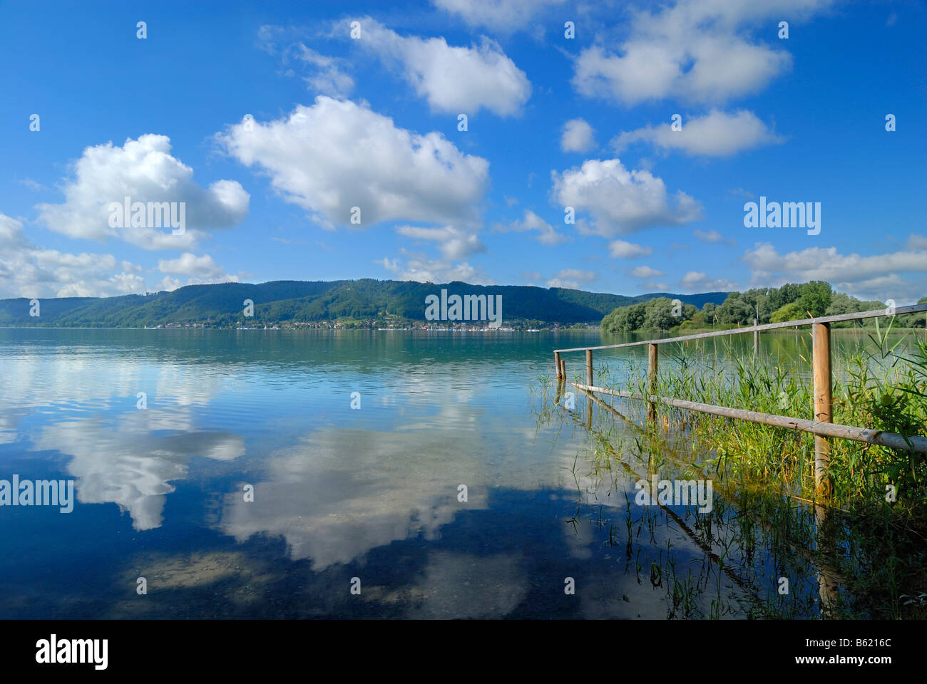 View across Bodensee, Lake Constance, towards Bodman Ludwigshafen, Baden-Wuerttemberg, Germany, Europe - Stock Image
