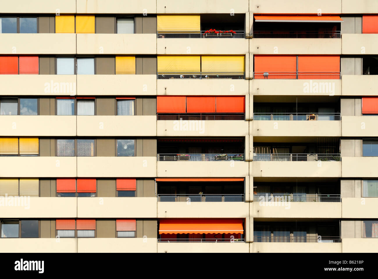Facade of a multistory building - Stock Image