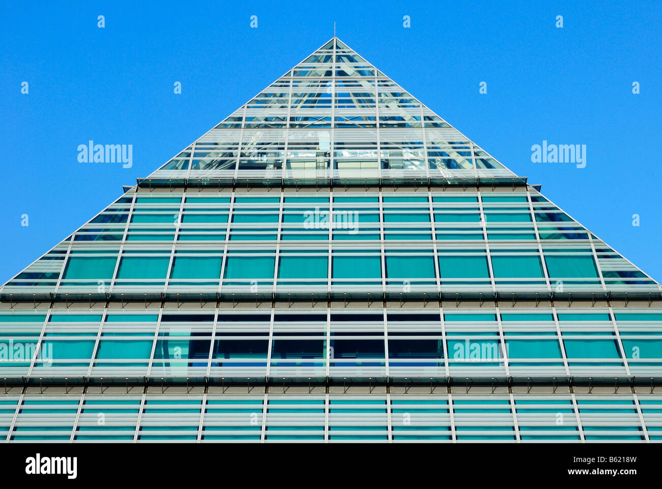 Neue Zentralbibliothek, new central library or glass pyramid, Ulm, Baden-Wuerttemberg, Germany, Europe Stock Photo