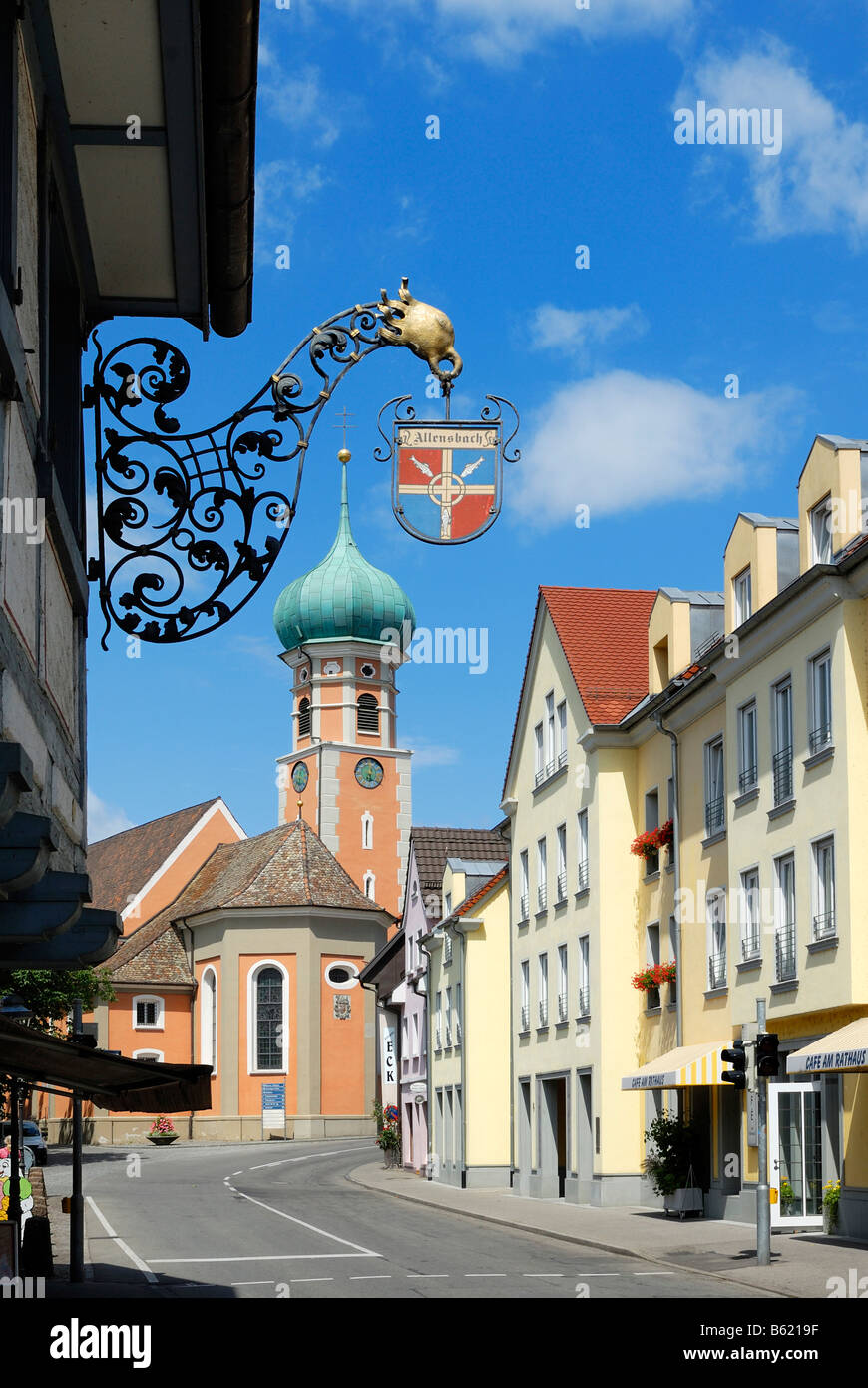 Sign with coat of arms of the the municipality and the Nikolauskirche Church, Allensbach, Constance district, Baden - Stock Image