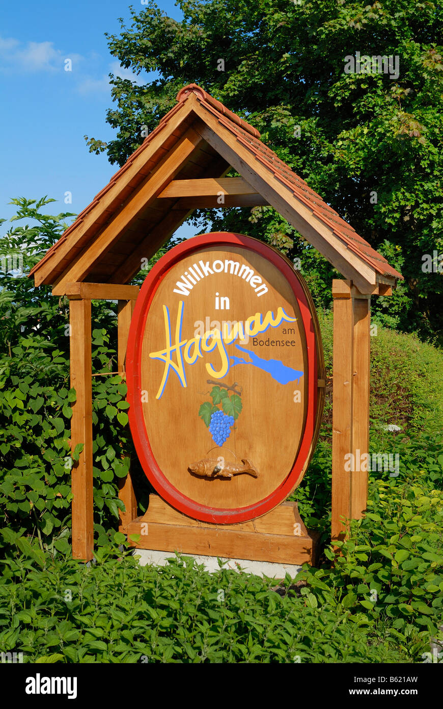 Welcome sign of Hagnau, Bodensee district, Baden-Wuerttemberg, Germany, Europe - Stock Image