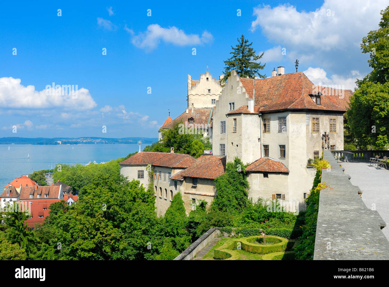 View of the the castle and the Unterstadt from the terrace of the Neues Schloss Castle, Meersburg, Bodensee district, Stock Photo
