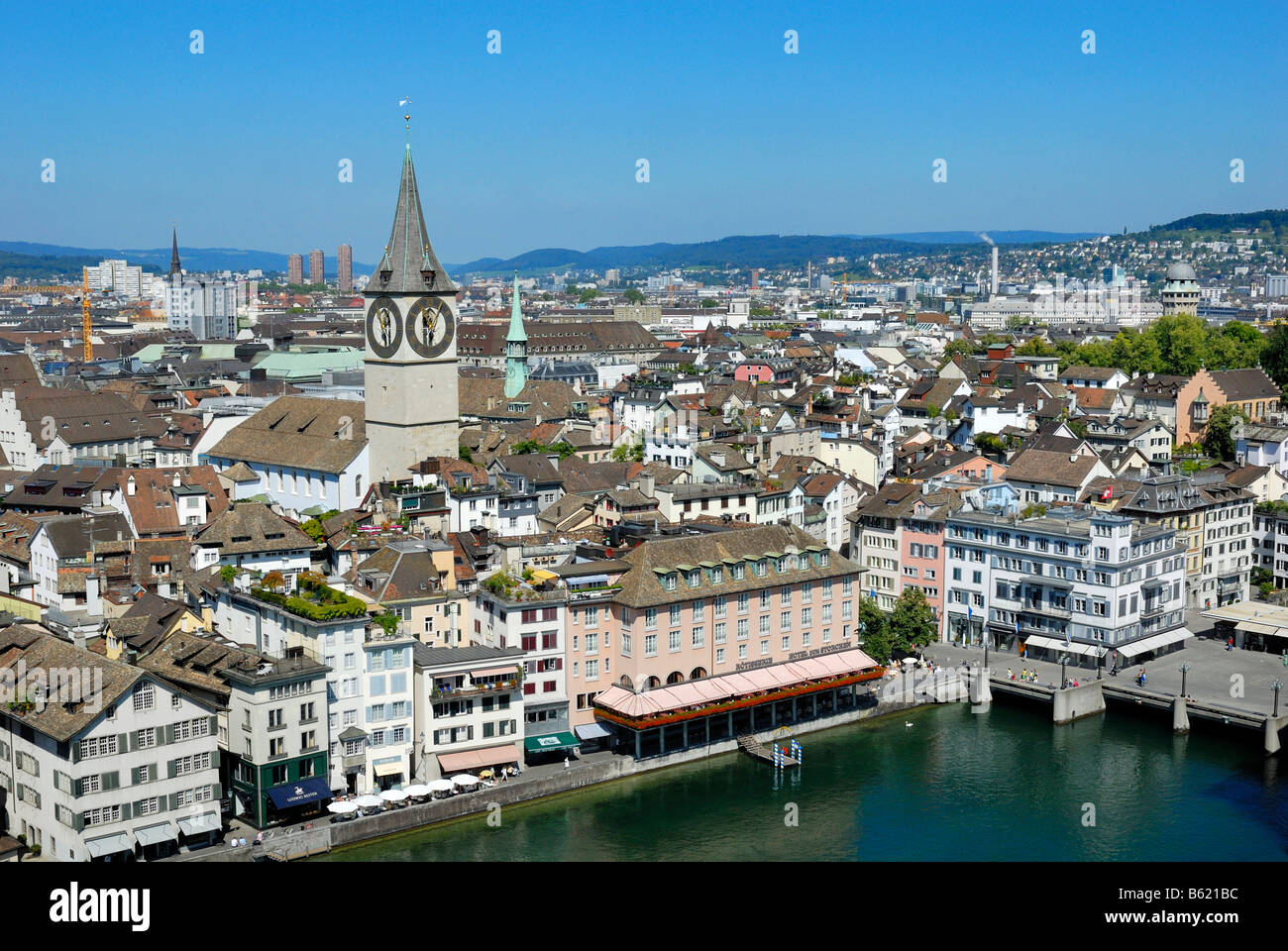 View of the historic centre and Limmat River, Zurich, Canton of Zurich, Switzerland, Europe - Stock Image