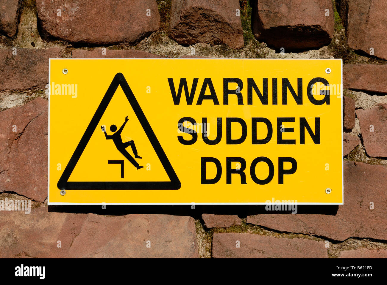Warning sign for sudden drop, Great Britain, Europe Stock Photo