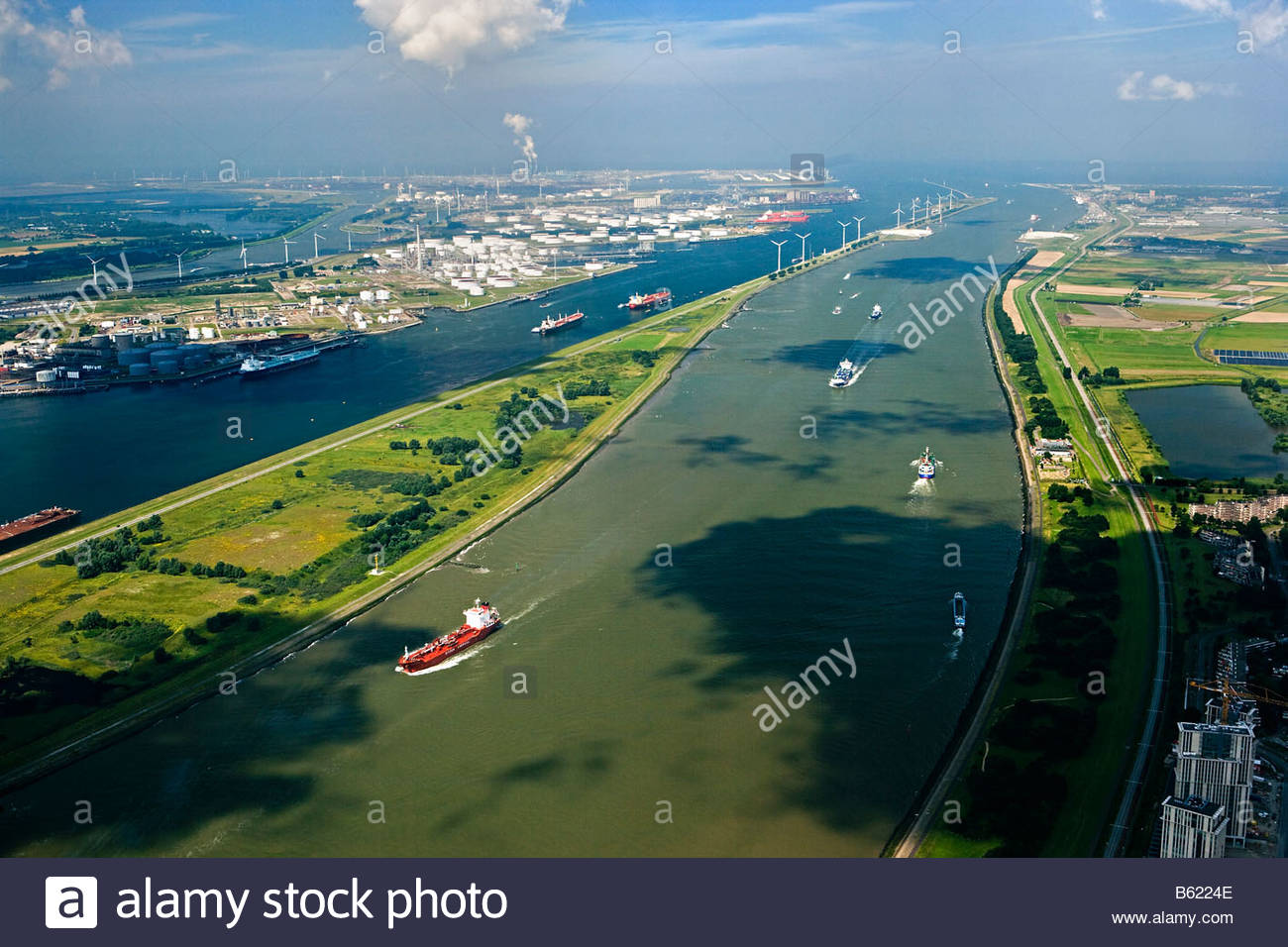 Holland Zuid Holland Rotterdam harbour Passage called Nieuwe Waterweg Aerial - Stock Image