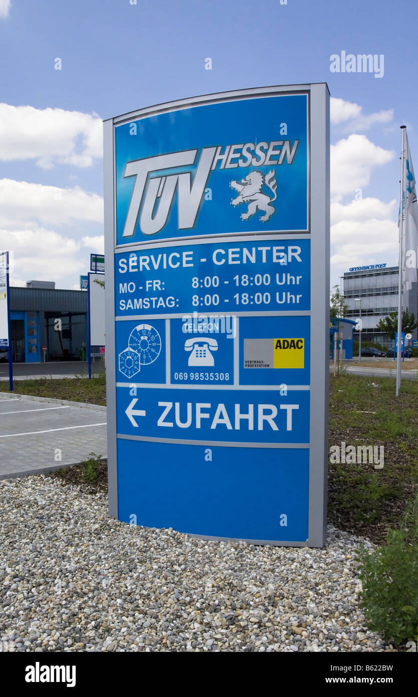 Sign, technical inspection agency, Hesse, Germany - Stock Image