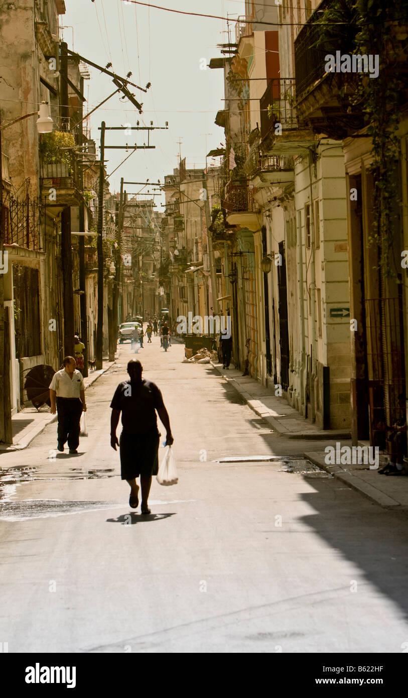 Street in the historic city centre of Havana, Cuba, Caribbean - Stock Image