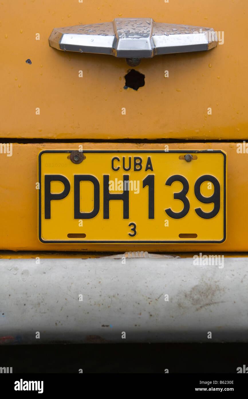 Number plate of a vintage car, Pinal del Rio city, Pinal del Rio ...