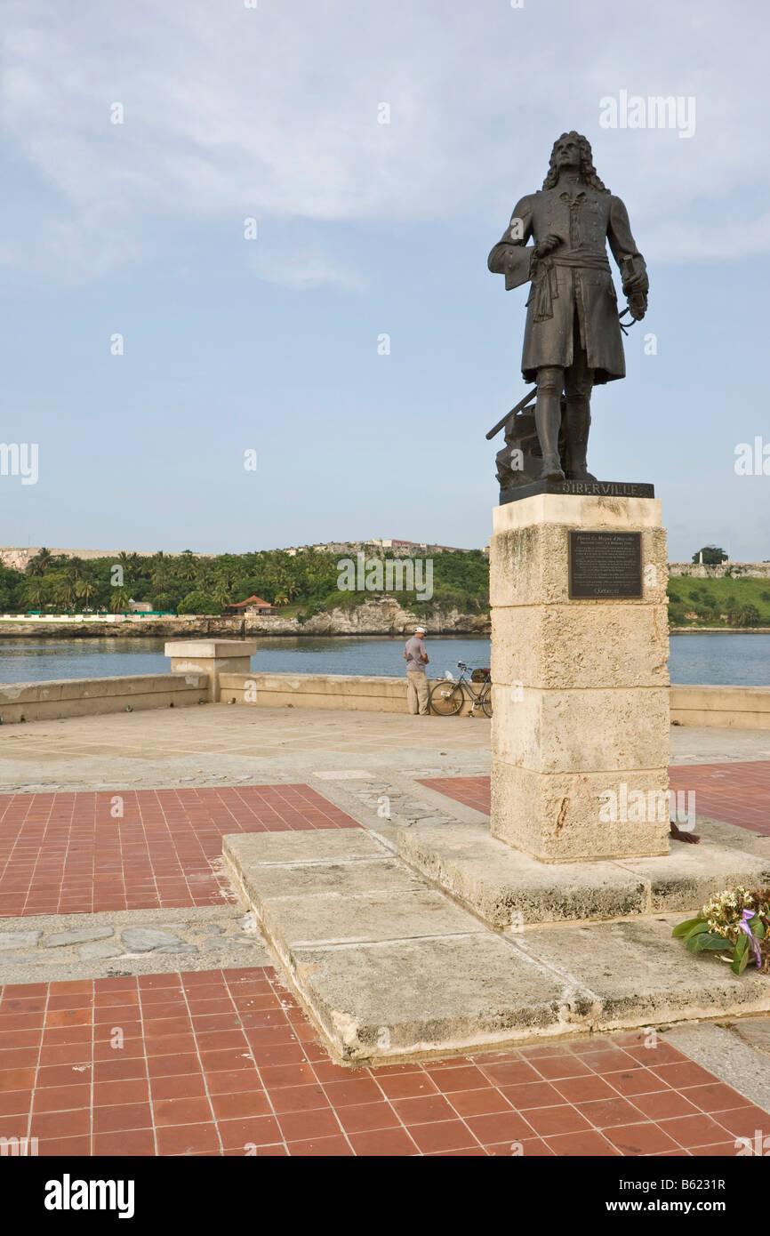 Memorial to Pierre Le Moyene de Liberville, Havana, Cuba, Caribbean - Stock Image