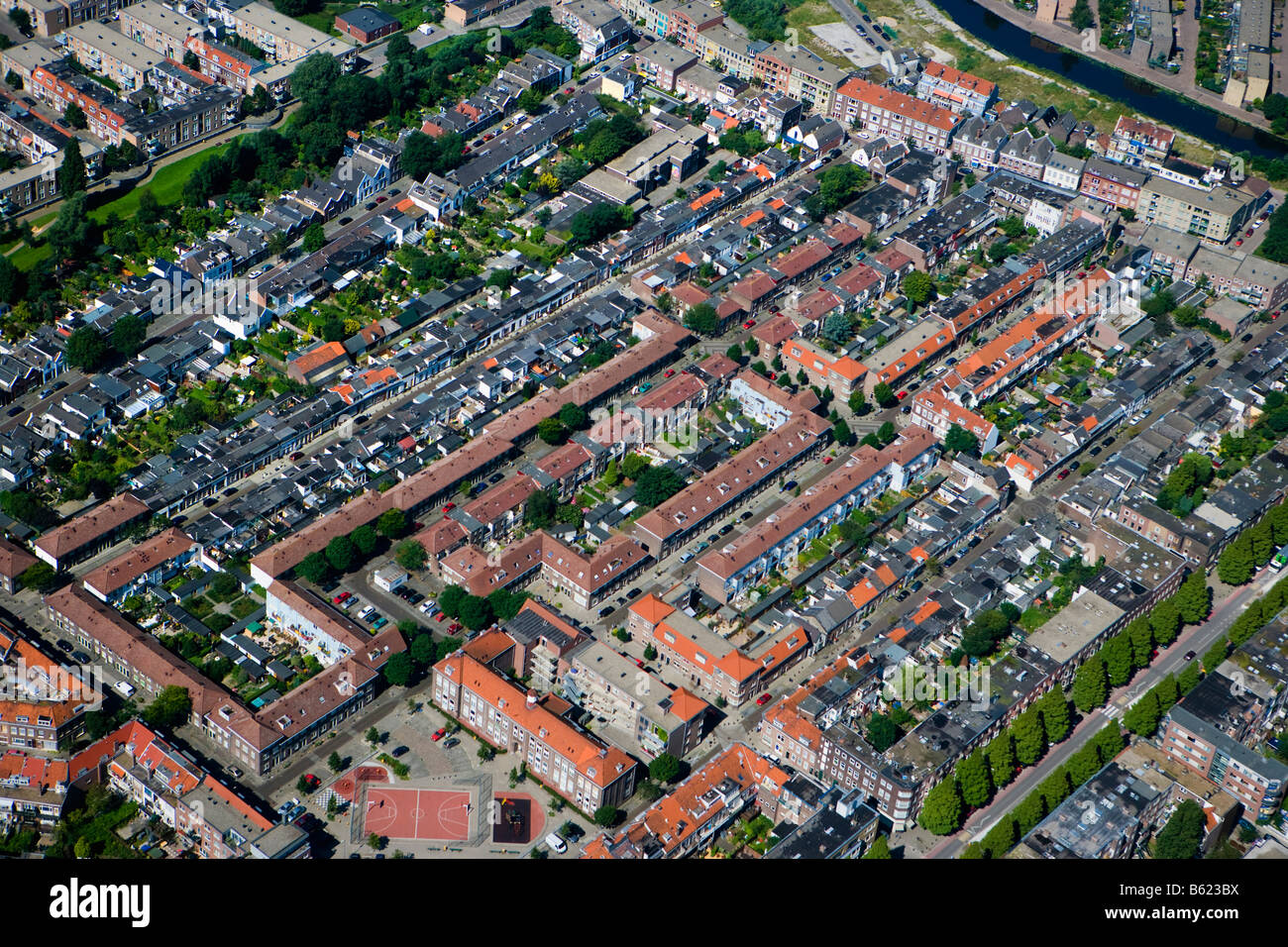 Netherlands Zuid Holland Rotterdam Residential district Aerial - Stock Image
