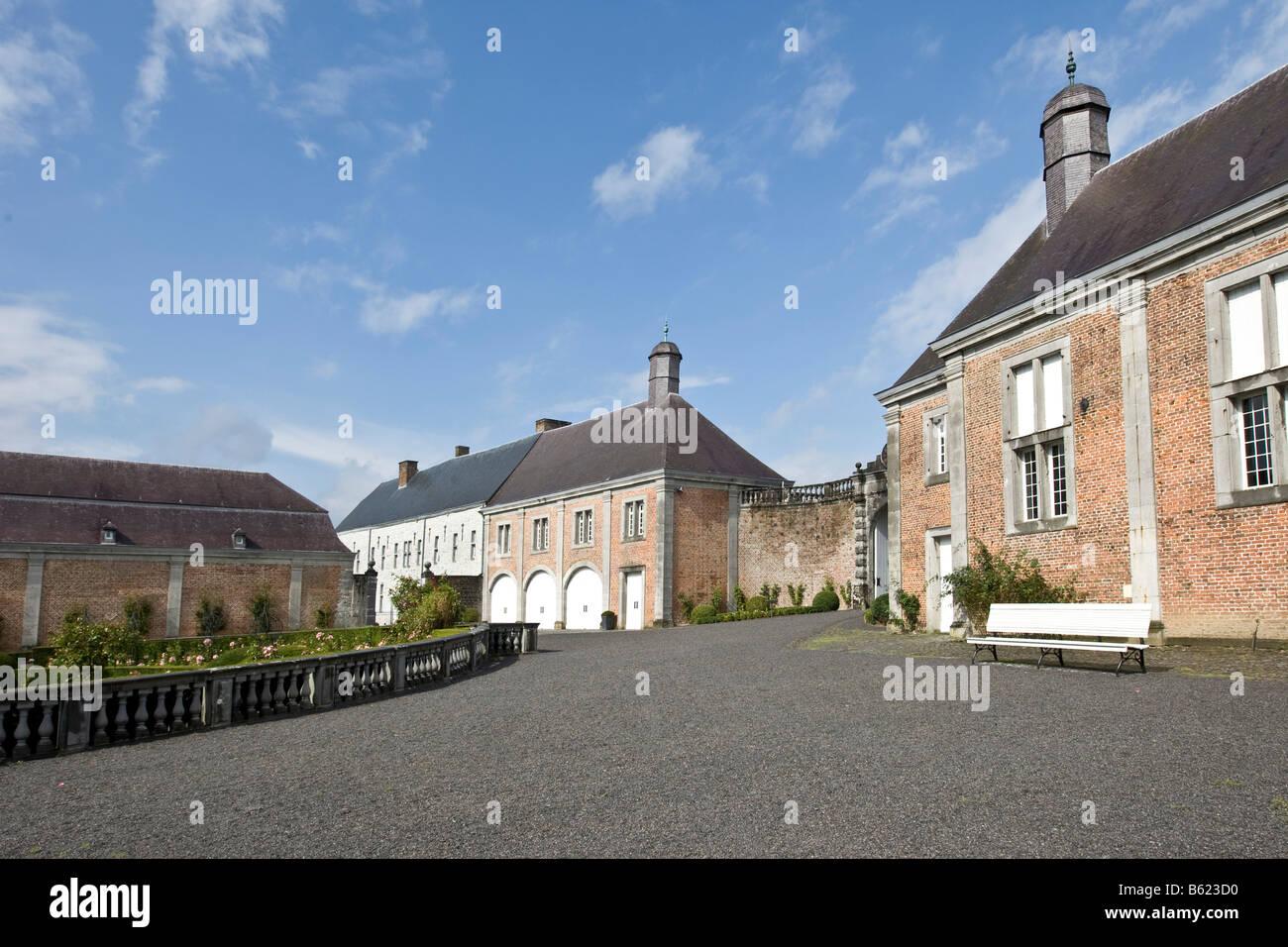 Château de Modave, Castle of Modave, stables, Modave, Liège Province, Belgium, Europe Stock Photo