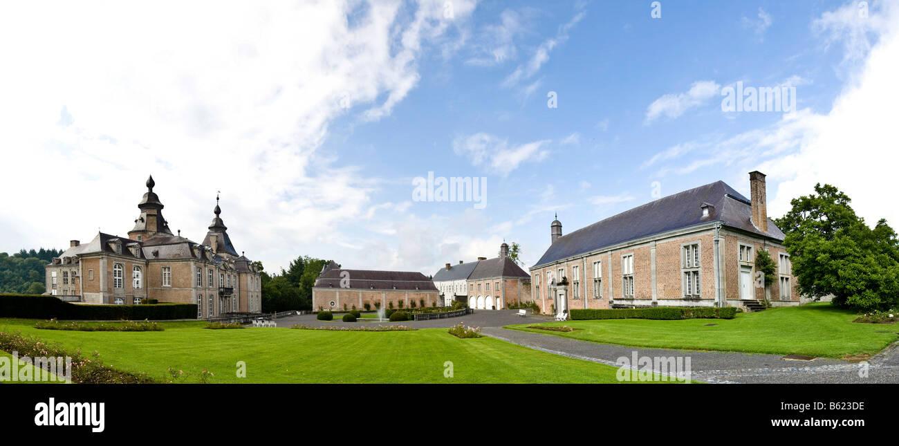 Château de Modave, Castle of Modave, park, panoramic view, Modave, Liège Province, Belgium, Europe Stock Photo