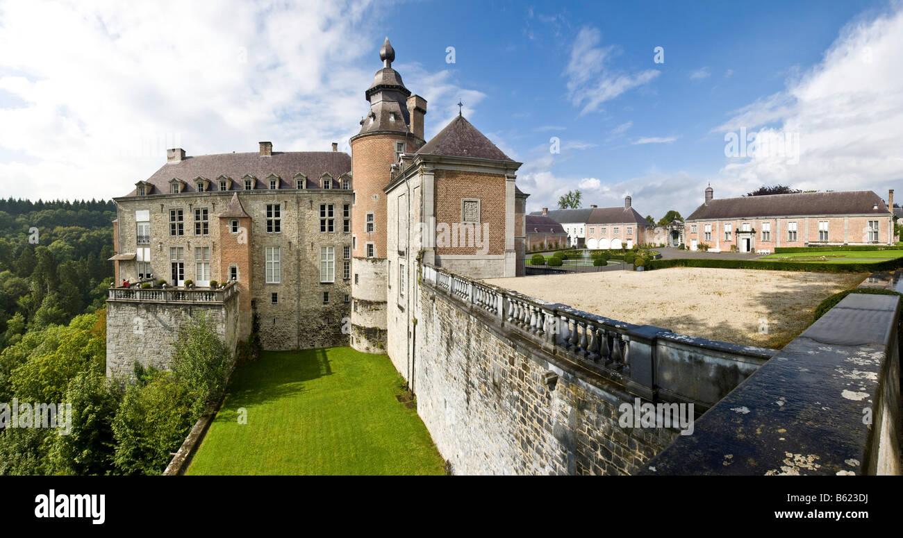 Château de Modave, Castle of Modave, panoramic view, Modave, Liège Province, Belgium, Europe Stock Photo