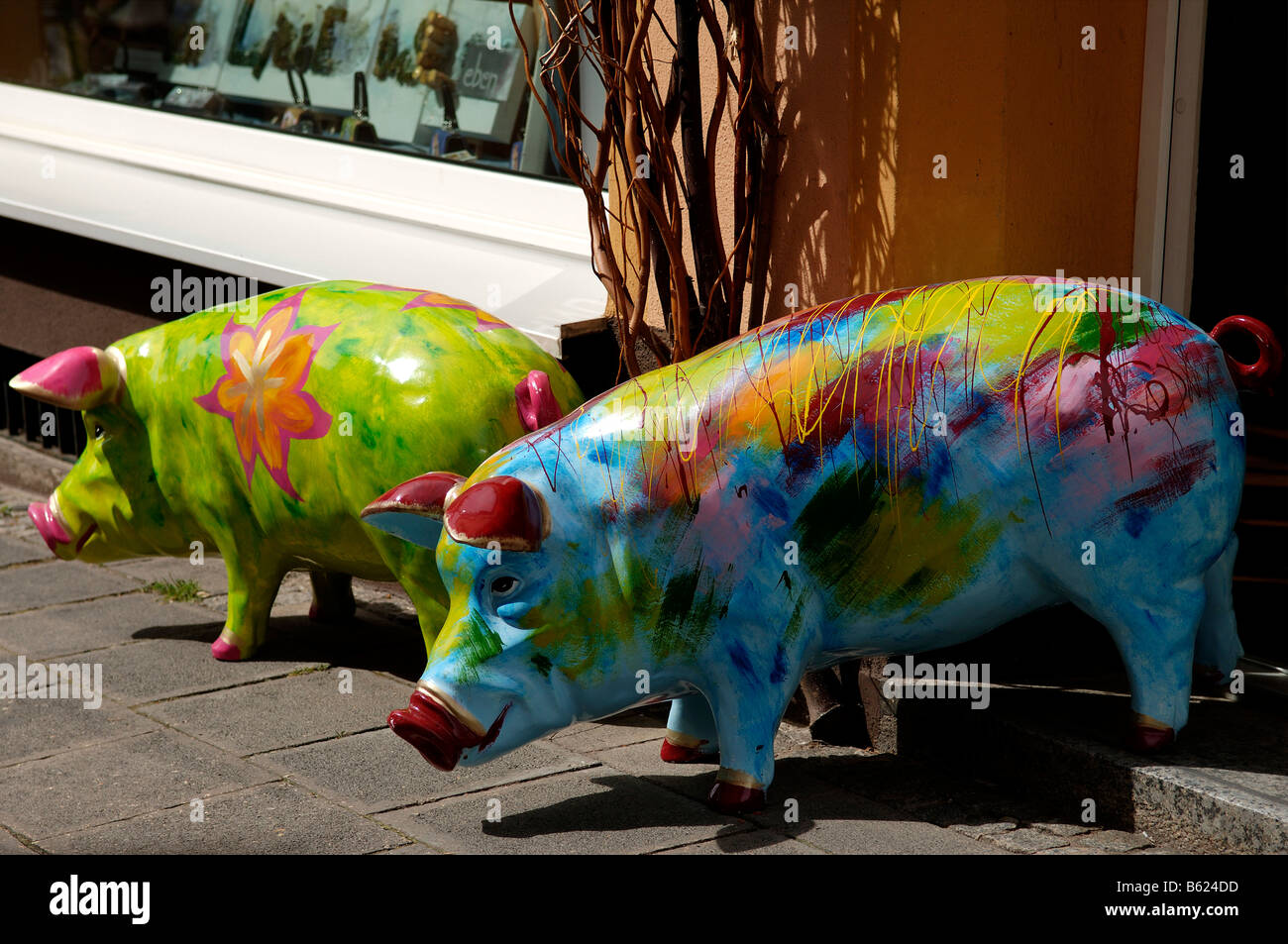 NEW Pretty Colourful Hand Carved and  Hand Painted Pig