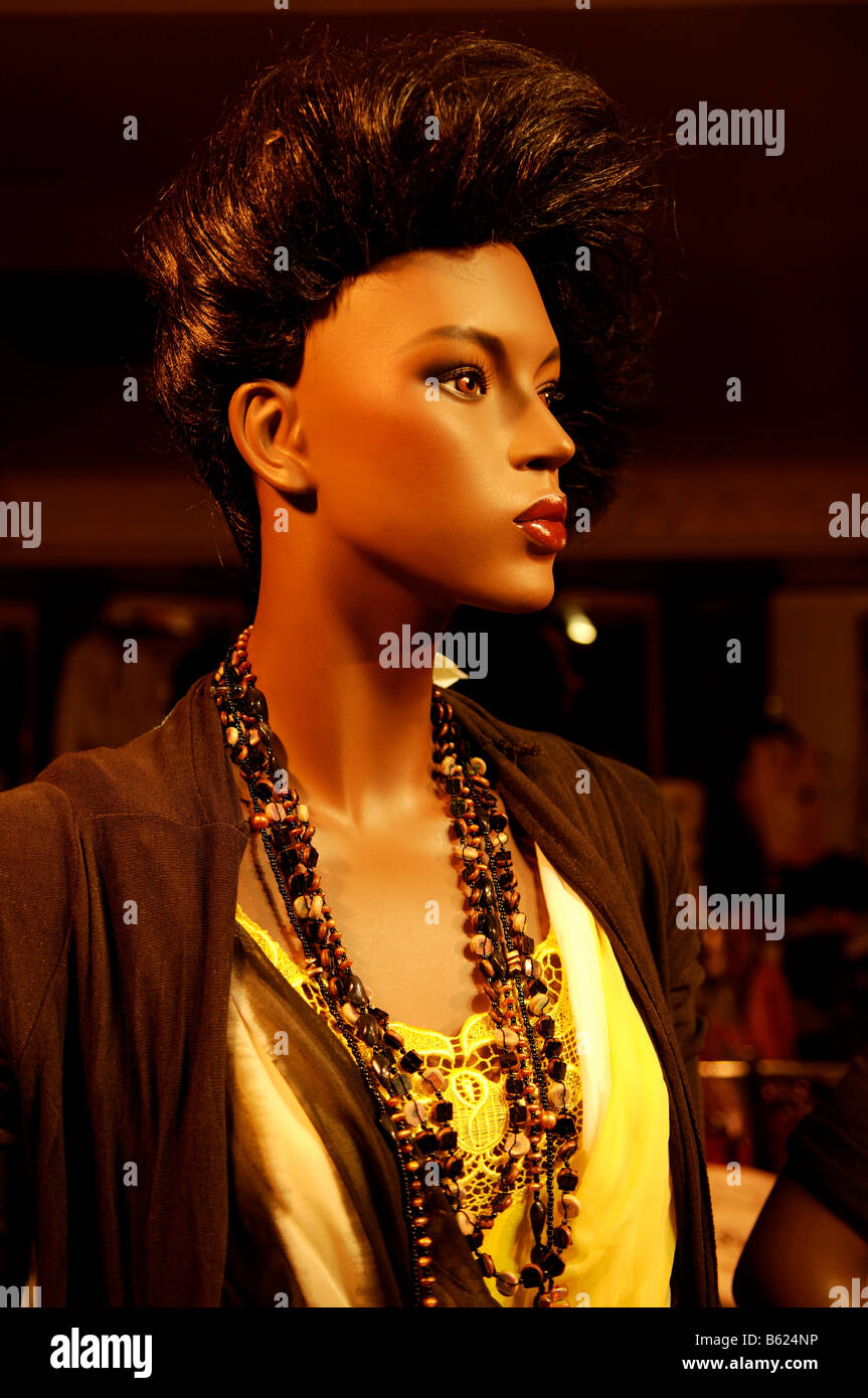 Female mannequin with a high-pinned hair style, Nuremberg, Middle Franconia, Bavaria, Germany, Europe - Stock Image