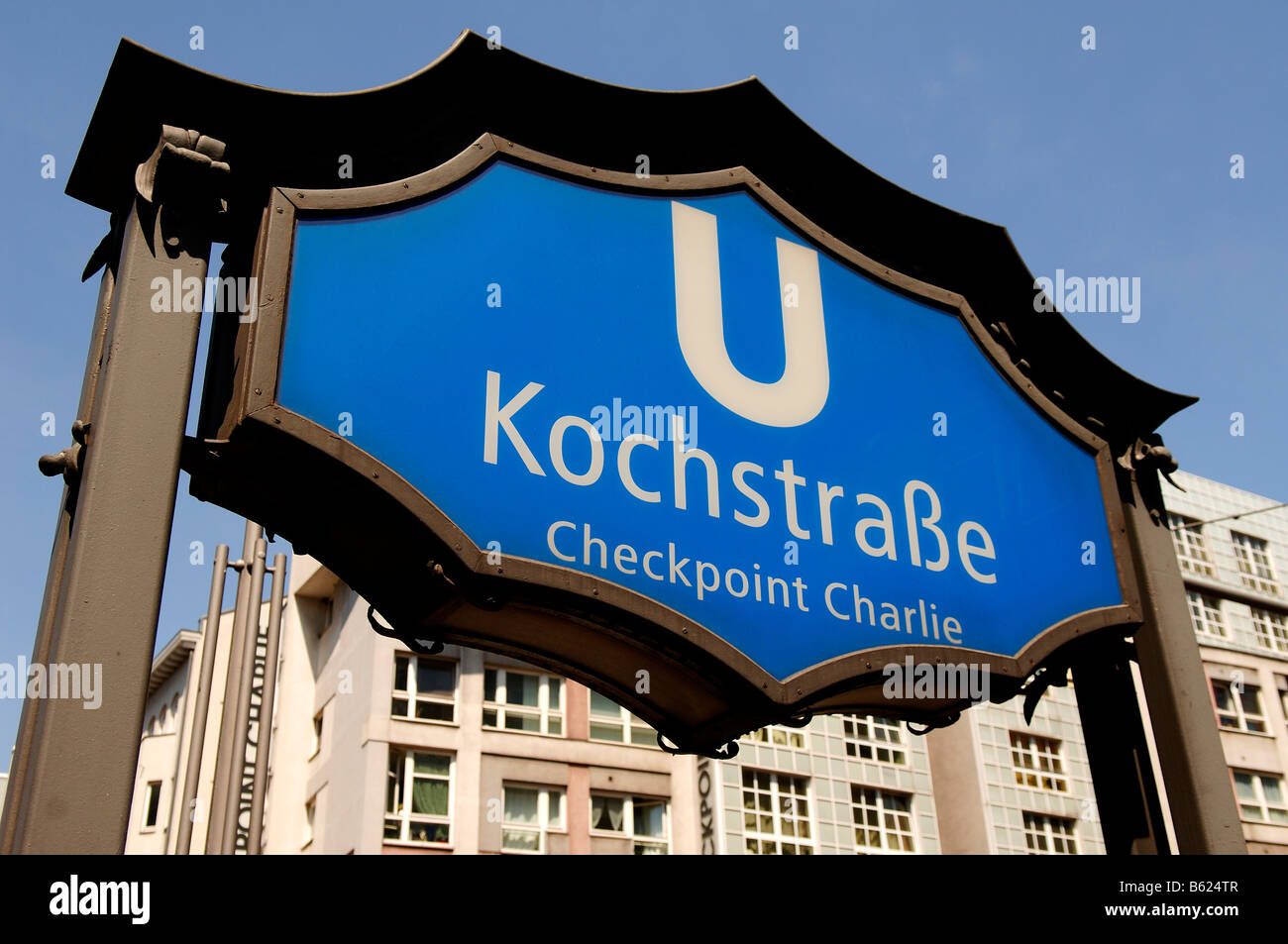 Sign, underground station of Checkpoint Charlie, Berlin, Germany, Europe - Stock Image