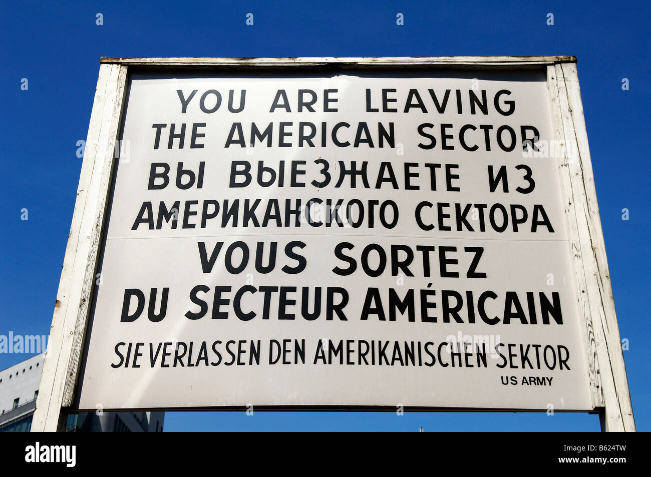Warning sign on Checkpoint Charlie, Berlin, Germany, Europe - Stock Image