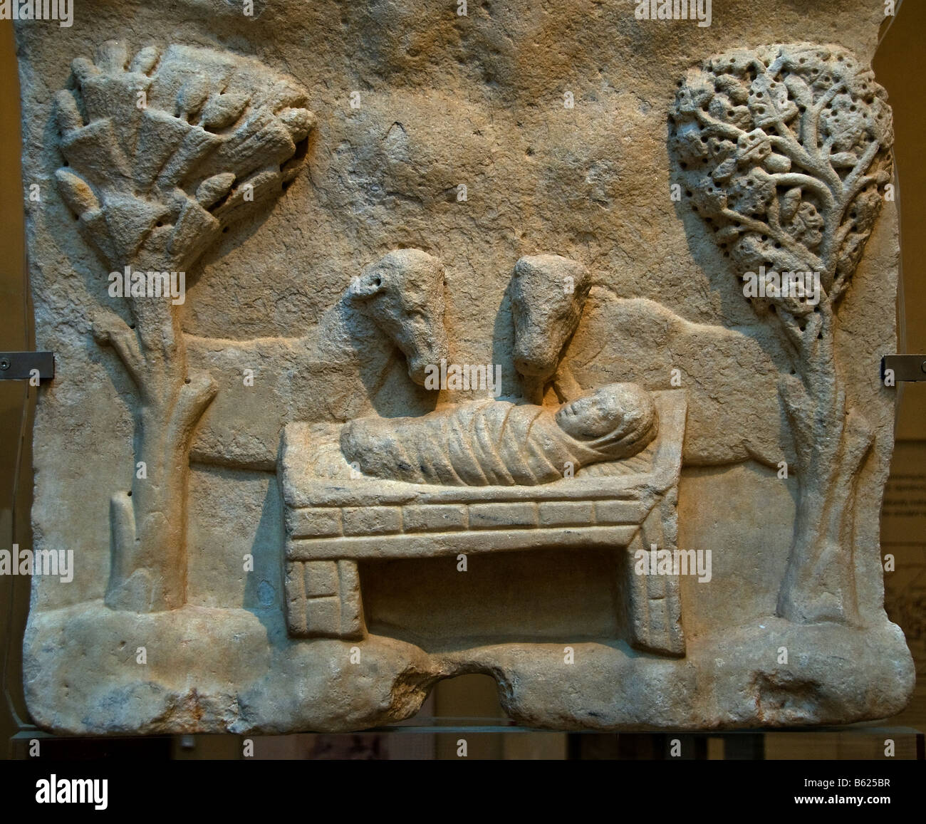 Marble slab with Nativity representation Naxos late 4th 5th century AD early Greece Greek - Stock Image