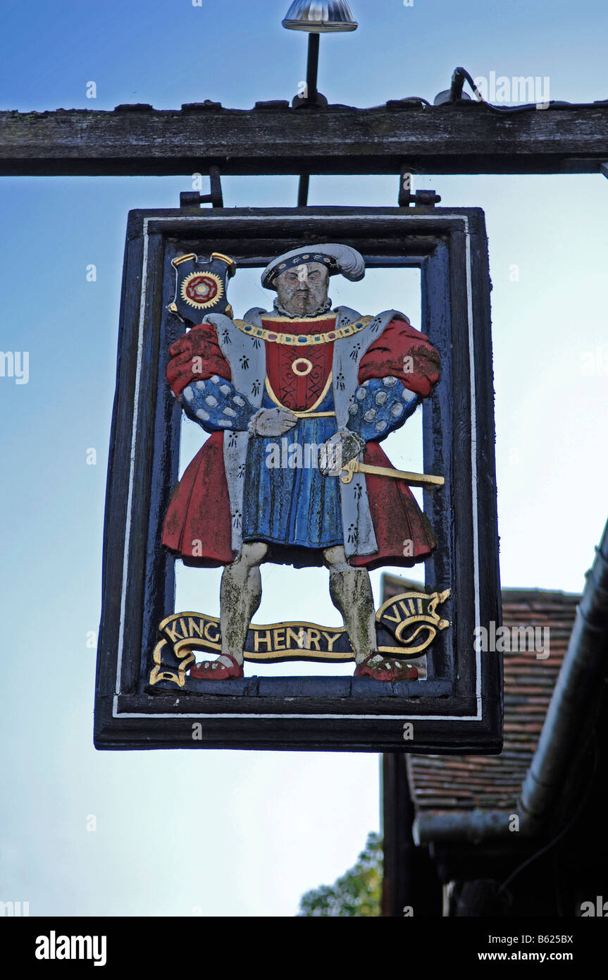 Sign of the Heinrich der VIII Restaurant, Hever, County of Kent, England, Great Britain, Europe Stock Photo