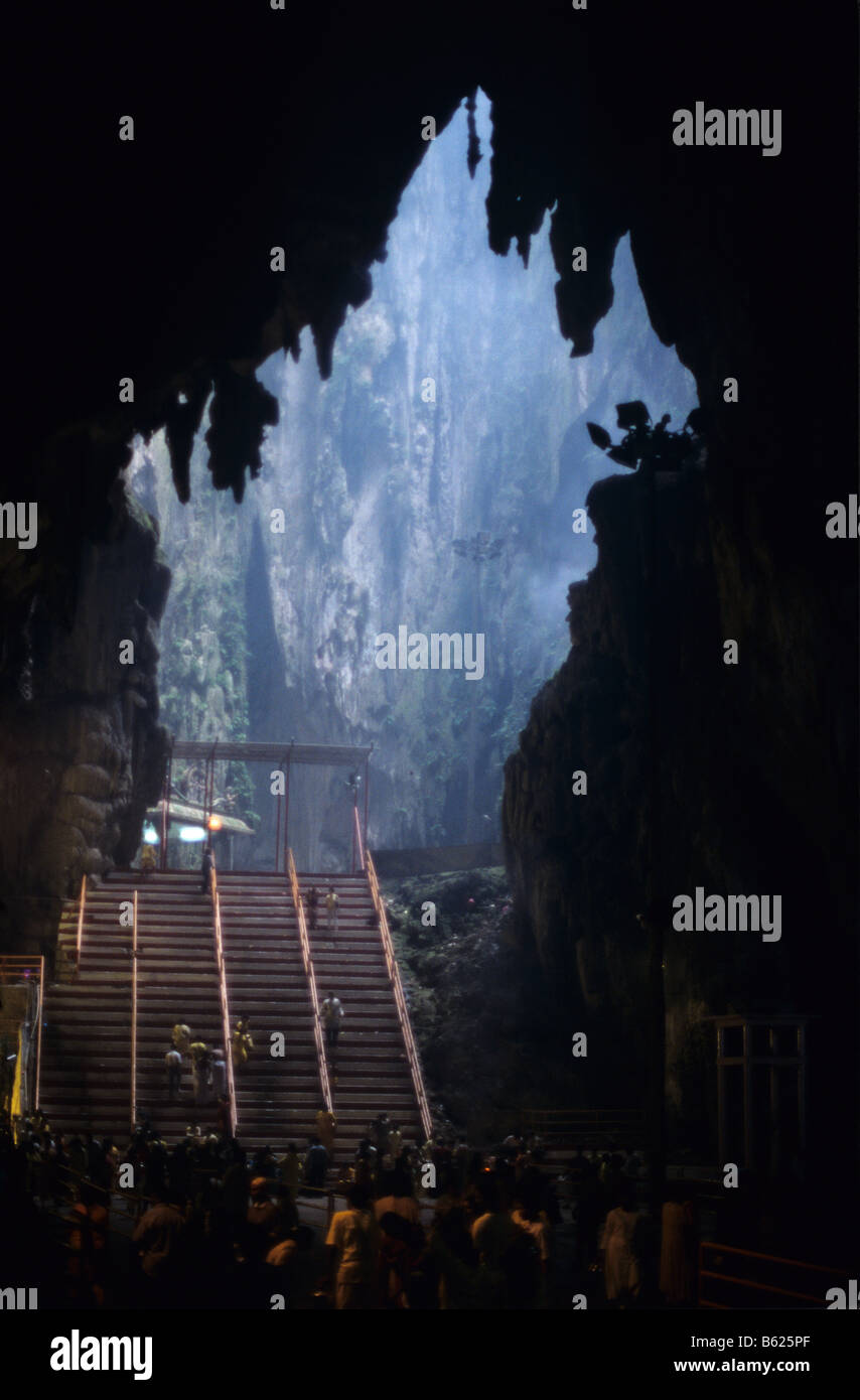The interior of Batu Caves, site of a revered Hindu temple and pilgrimage centre, just outside Kuala Lumpur, Malaysia - Stock Image