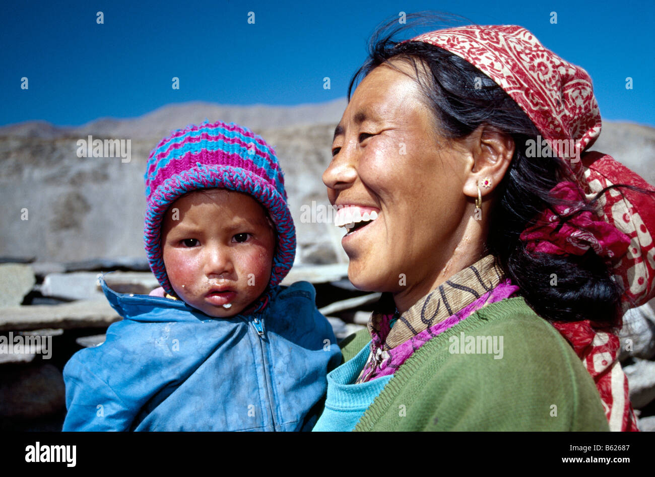 Woman and child, Rumptse, Ladakh, Himachal Pradesh, India, Asia - Stock Image